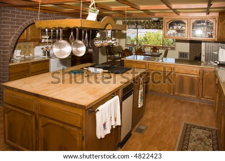 Country kitchen in a very large home in Oregon