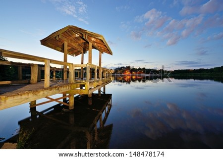 Country lake in north Georgia, USA. - stock photo