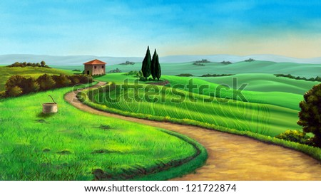 Country landscape in Tuscany, Italy, at sunset. Digital illustration. - stock photo