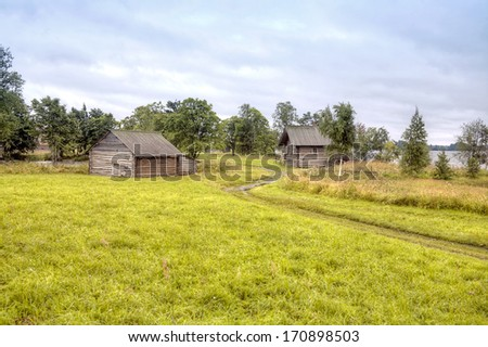 Country Landscape. Kizhi Island, view of the rustic farm buildings