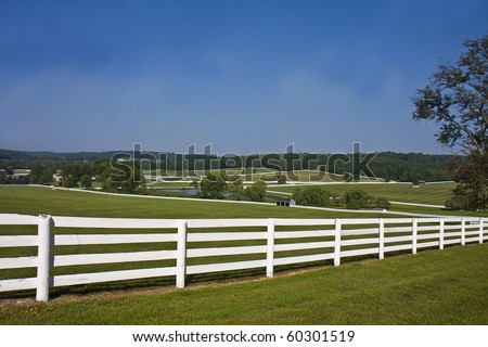 Country landscape of horse farm with split rail fences - stock photo