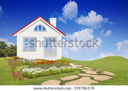 Country landscape with new house illustration of cool detailed house isolated  - stock photo