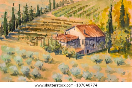 Country landscape with typical house on hill in Italy. Watercolors painting.  - stock photo