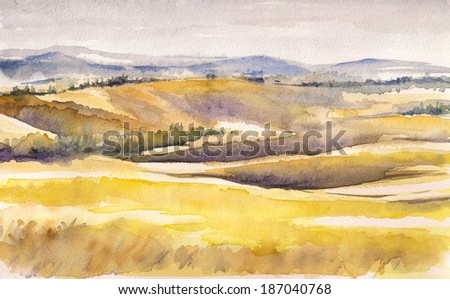 Country landscape with typical Tuscan hills in Italy. Watercolors painting.  - stock photo