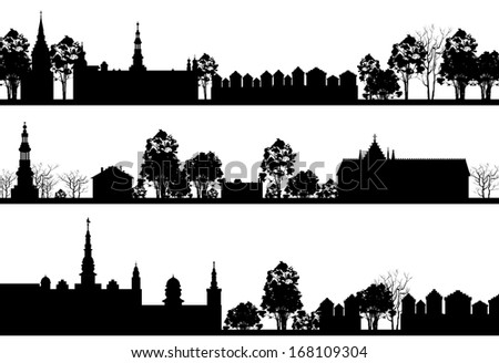 country Landscapes with Church and Trees. Raster version of vector illustration