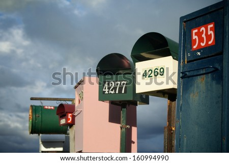 Country Letterboxes - stock photo