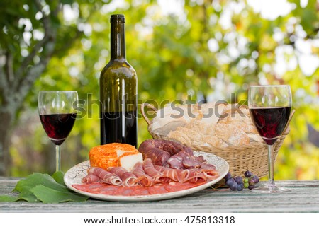 Country life setting with wine, fruits, cheese and meat. Outdoor
