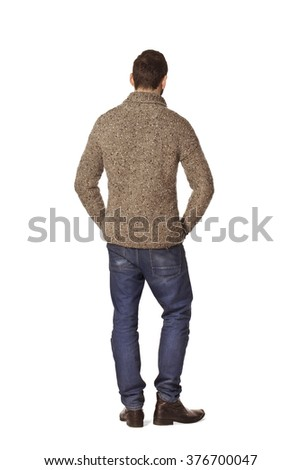 Country man back portrait in grey sweater.