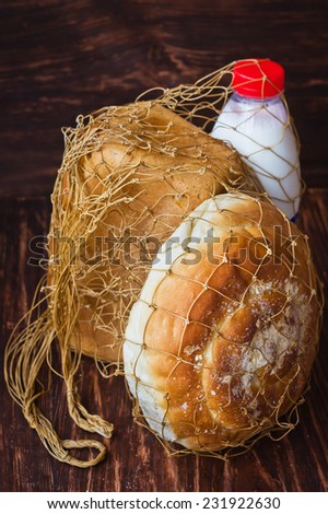 Country Net carrying products - string bag - stock photo