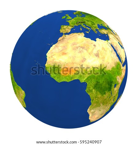 Country of Burkina Faso highlighted on globe. 3D illustration with detailed planet surface isolated on white background. Elements of this image furnished by NASA.