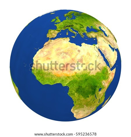 Country of Niger highlighted on globe. 3D illustration with detailed planet surface isolated on white background. Elements of this image furnished by NASA.