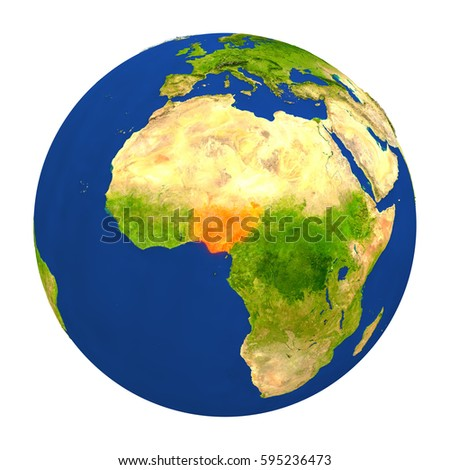 Country of Nigeria highlighted on globe. 3D illustration with detailed planet surface isolated on white background. Elements of this image furnished by NASA.
