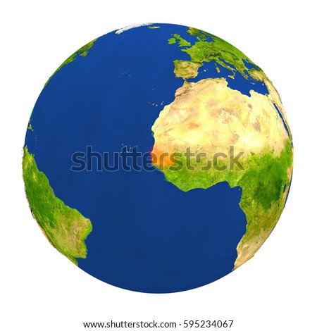 Country of Senegal highlighted on globe. 3D illustration with detailed planet surface isolated on white background. Elements of this image furnished by NASA.