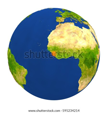 Country of Sierra Leone highlighted on globe. 3D illustration with detailed planet surface isolated on white background. Elements of this image furnished by NASA.