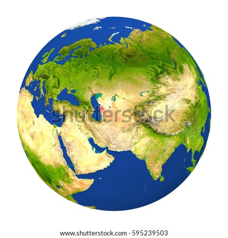 Country of Turkmenistan highlighted on globe. 3D illustration with detailed planet surface isolated on white background. Elements of this image furnished by NASA.