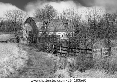 country path to old barn