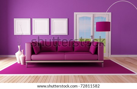 Country Purple Living Room With Modern Couch On Carpet The Image On  Background Is A Part 75