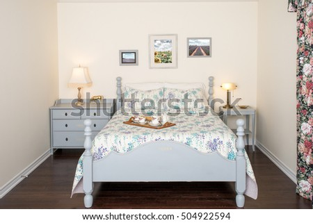 retro style bedroom furniture. country retro style bedroom interior antique hand painted grey furniture and photo frames