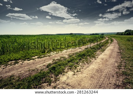 Country road, abstract natural landscape for your design - stock photo