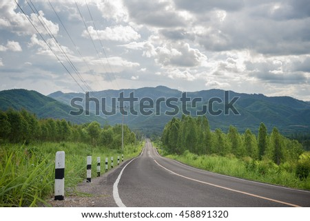 Country road against White Sky background, Thailand,