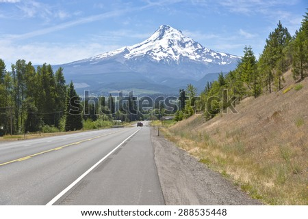 Country road and Hood River county landscape. - stock photo