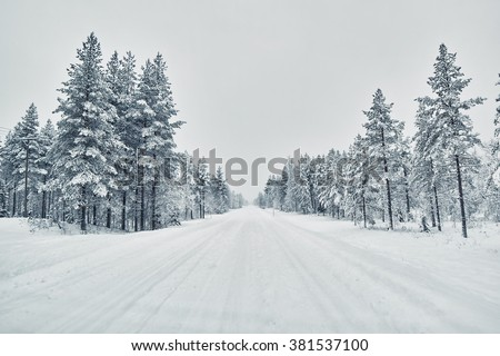 Country road covered with snow after snow blizzard