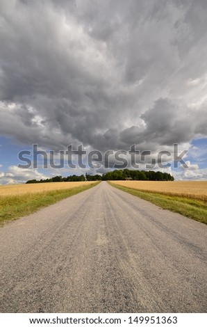 Country road in a cloudy agricultural land