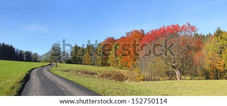 Country road in autumnal german landscape