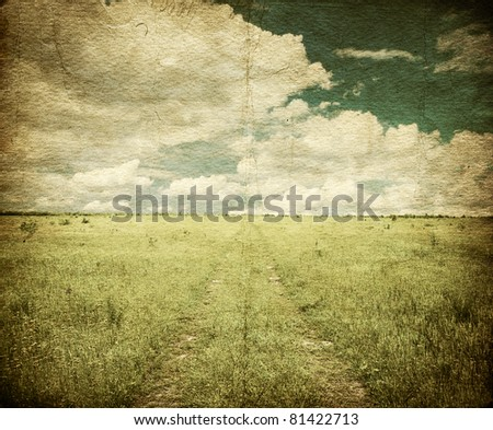 country road in the fields, old grungy illustration - stock photo