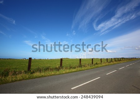 Country road landscape - stock photo