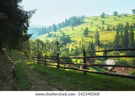 Country Road. landscape of the Carpathian Mountains, Ukraine - stock photo