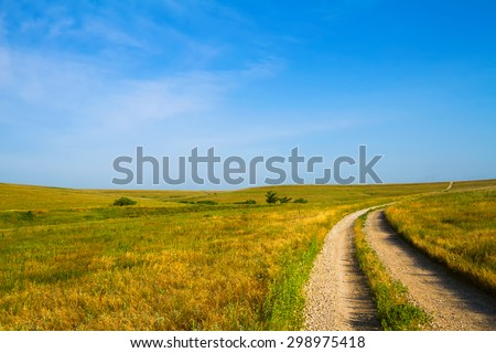 Country Road leading through the Flint Hills of Kansas - stock photo