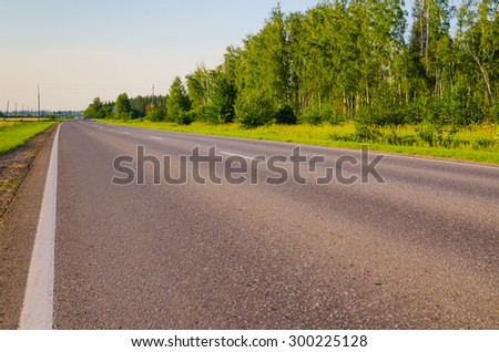 country road near a forest in evening time - stock photo