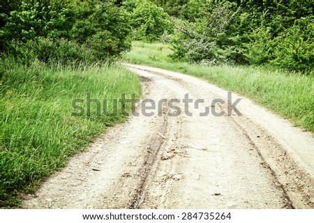 Country road toned photo - stock photo