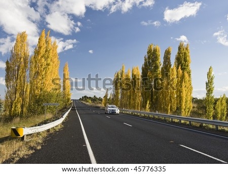 Country road under blue sky, New South Wales, Australia - stock photo