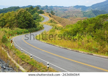 country road winding - stock photo