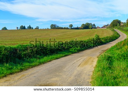 Country road with fields and farms, in Cote dOr, Burgundy, France