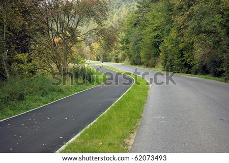 Country road with road for bikers