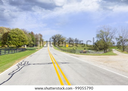 Country Road with stormy sky - stock photo