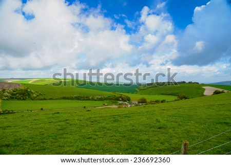 Country side landscape view over hills