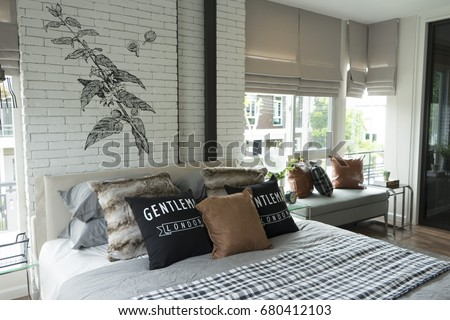 Country Style Bedroom Brick Wall Stock Photo (Edit Now) 680412103 ...