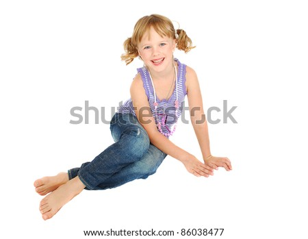 Country style happy  little girl in short and jeans isolated on the white background. .