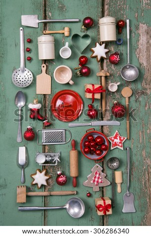 Country style or wooden vintage Christmas background for kitchen and menu decoration. - stock photo