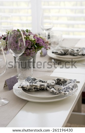 country style table setting, selective focus - stock photo