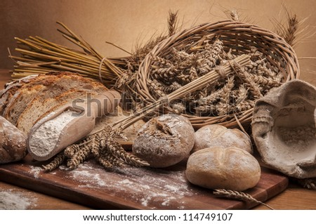 Country theme with bread and cereals