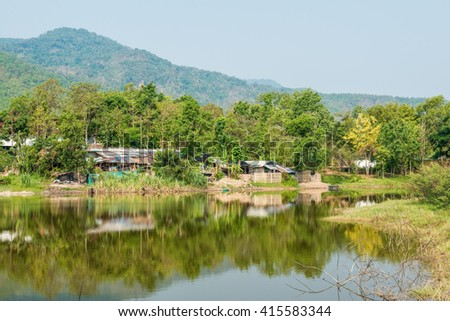 Country view in Thai, Thailand. - stock photo