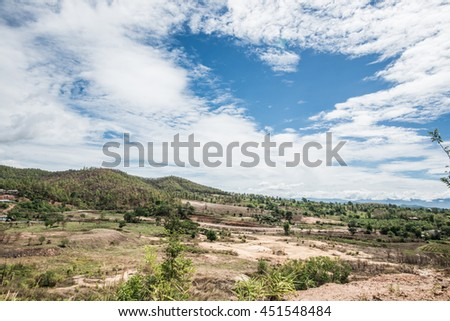 Country view in Thai, Thailand - stock photo
