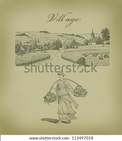 Country woman illustration - stock photo