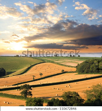 Countryside in England with straw bales, Devon country