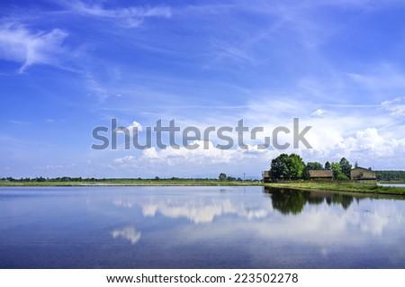 Countryside in Lomellina, springtime view. Color image - stock photo